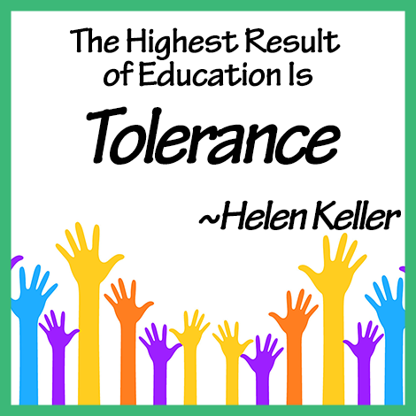Teaching Tolerance | Helen Keller Quote |www.carrberrycreations.com