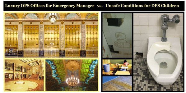 The Emergency Manager's luxurious offices vs. the DPS students' facilities - deplorable!: detroit public schools